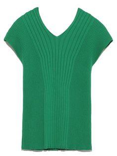 Organik pamuk V yaka örme (kazak) | Mila Owen (Mira Owen) | moda posta | tavşan çevrimiçi resmi posta siparişi sitesi