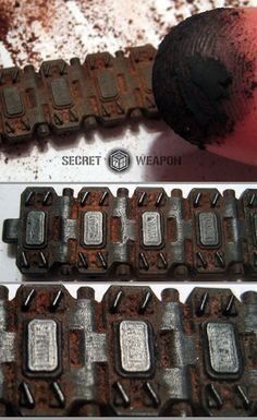 Tank Tread Weathering Tutorial : Secret Weapon Miniatures, ground up black pastel, fix with clear spray after. Painting Tips, Painting Techniques, Modeling Techniques, Modeling Tips, Warhammer Terrain, Paper Plants, Model Hobbies, Rc Hobbies, Model Tanks