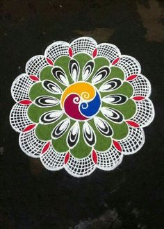 Rangoli Kolam Designs on Happy Shappy in Here you can find the most beautiful & Simple design, photos, images, free hand and more in Small & Large design Ideas Rangoli Patterns, Rangoli Ideas, Rangoli Designs Diwali, Kolam Rangoli, Flower Rangoli, Colour Rangoli, Peacock Rangoli, Indian Rangoli, Simple Rangoli Designs Images