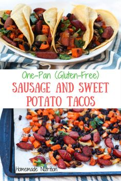 Sausage, sweet potato, onions, and black beans roast together beautifully on a baking sheet to create the base of these delicious (and gluten free) one-pan tacos for two! Healthy Taco Recipes, Healthy Tacos, Vegan Recipes, Beans And Sausage, How To Cook Sausage, Keilbasa Sausage Recipes, Sweet Potato Tacos, Baking Sheet, Black Beans