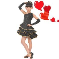 US $19.70 / piece Children Latin Dance Competition Dresses Kids Ballroom Dresses Samba Dress Girls Tango Dance Dress Practice/Performance Skirt