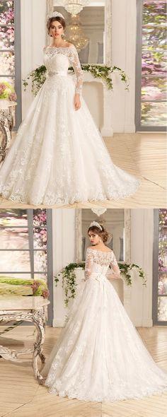 LOVE! Vestido De Noiva Manga Longa Three Quarter Sleeves A line Wedding Dress With Sash Plus Size Lace Vintage Wedding Dresses 2016