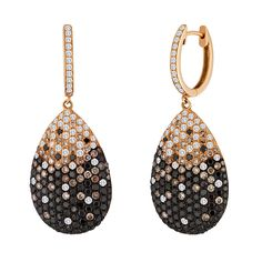 Black Champagne and White Diamond Gold Drop Earrings | From a unique collection of vintage drop earrings at https://www.1stdibs.com/jewelry/earrings/drop-earrings/