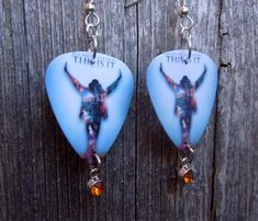 Michael Jackson This Is It Guitar Pick Earrings with Orange Crystal Charms