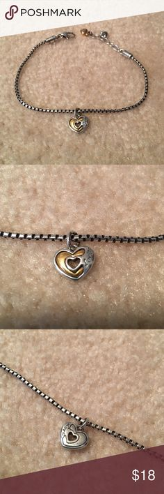 Beautiful Brighton Anklet Brighton Anklet - this item is in perfect condition! Comes with a heart charm that has different designs on each side (see photos). Make an offer! Brighton Jewelry