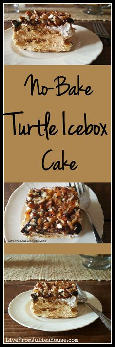 No-Bake Turtle Icebox Cake - Looking for an easy, no bake summer dessert your family will love? This decadent No-Bake Turtle Icebox Cake gets rave reviews!