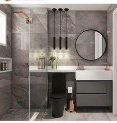 tons de cinza para decoração de banheiro sob medida moderno Bathroom Design Luxury, Bathroom Design Small, Bathroom Layout, Modern Bathroom, Dream Bathrooms, House Design, Studio Design, Home Decor, Master Baths