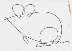 Continuous line drawing: Mouse. Machine Quilting Patterns, Quilting Designs, Quilt Patterns, Single Line Drawing, Continuous Line Drawing, Free Motion Embroidery, Free Motion Quilting, Rock Crafts, Wire Crafts