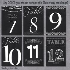 Free Printable Chalkboard Table Numbers And
