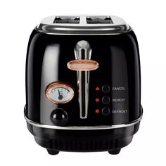 Buy Tower T20016 Bottega 2 Slice Toaster - Black and Rose Gold | Toasters | Argos Cable Storage, Cord Storage, Black Toaster, Stainless Steel Toaster, Crumpets, Slice Of Bread, Drip Coffee Maker, Browning, Tower