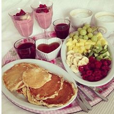 the perfect breakfast, pancakes, syrup, fruit, smoothies, juice, coffee