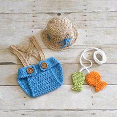 Crochet Baby Fishing Fisherman Hat Diaper Cover Suspenders Set Fish Pole Line Newborn Infant Photography Photo Prop Handmade Baby Shower