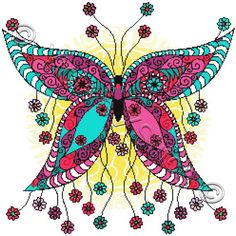 Floral butterfly cross stitch | Yiotas XStitch