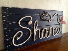 Nautical Nursery Decor ~ Personalized Nautical Rope Name Sign ~ Wood Rope Name Sign ~ Baby Shower Gift for Nautical Theme~ made by Rope&Style