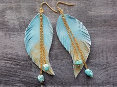 Blue feather earrings. Leather feather earrings. Gold blue