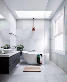 bathroom ideas modern / bathroom ideas - bathroom ideas small - bathroom ideas on a budget - bathroom ideas modern - bathroom ideas master - bathroom ideas apartment - bathroom ideas diy - bathroom ideas small on a budget Family Bathroom, Budget Bathroom, Master Bathroom, Skylight Bathroom, Large Tile Bathroom, White Bathroom, Colorful Bathroom, Shower Bathroom, Remodel Bathroom