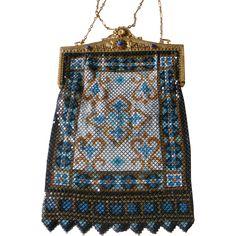 Dazzling Deco Mandalian Enameled Mesh Purse Bag Large Size Jeweled Frame