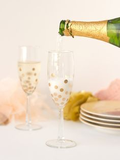 DIY Gold Polka Dot Champagne Glasses – Lovely Indeed #diy #vpn http://cameroon.nef2.com/diy-gold-polka-dot-champagne-glasses-lovely-indeed-diy-vpn/  # Who will you be clinking glasses with this Valentine s Day? Whether it s a sweetheart or an awesome friend, you should be clinking in style. Pour your bubbly into these little gold polka dot champagne glasses and suddenly everything s just a bit more fancy. And best of all? I scored these glasses at the dollar store. Boom. plain champagne…
