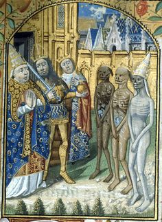 Detail of a miniature of the Three Living (a pope, an emperor, and a king) and the Three Dead (wearing matching crowns), at the beginning of thee Office of the Dead, from a Book of Hours, France (Paris), c. 1480 – c. 1490, Harley MS 2917, f. 119r