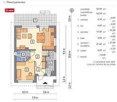 Proiect superb de casa cu mansarda in suprafata de 90 mp! Outdoor Kitchen Design, Small House Design, Design Case, Floor Plans, 1, How To Plan, Houses, Projects, Design For Small House