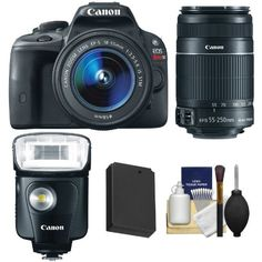SALE Canon EOS Rebel SL1 Digital SLR Camera & EF-S 18-55mm IS STM Lens with Canon EF-S 55-250mm IS II Zoom Lens + Speedlite 320EX Flash + Battery + Cleaning Kit