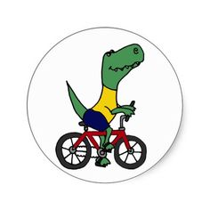 Funny T-rex Dinosaur Riding Bicycle  #dinosaurs #bicycles #stickers #funny #animals #zazzle #petspower