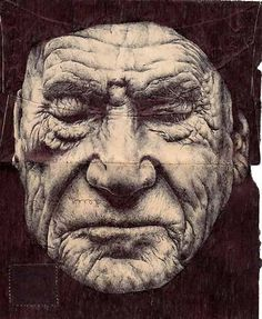 Envelope Drawings - by Mark Powell - London - has chosen backs of old envelopes as a canvas for delicately rendered portraits of the elderly, using a standard Bic Biro pen to create delicate folds & wrinkles Art And Illustration, Amazing Drawings, Amazing Art, Biro Drawing, Pen Drawings, Mark Powell, Ballpoint Pen Art, Envelope Art, Colossal Art