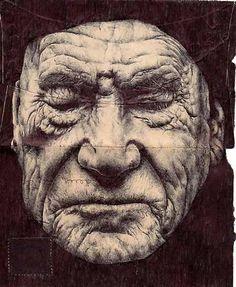 Envelope drawings by Mark Powell. Amazing illustrations of elderly men on the backs of old envelopes