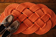 Nautical Rope Rug Orange Cotton Bath Mat Rope Mat by OYKNOT, $100.00
