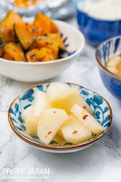 Yuzu daikon pickles   Proef Japan Nasi Goreng, Chinese Food, Pickles, Cantaloupe, Sushi, Food Japan, Curry, Fruit, Style