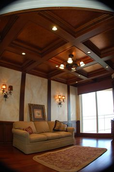 False ceiling design in living room by alacritys Crown molding india