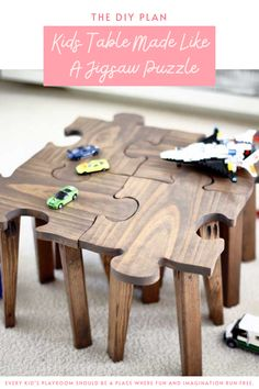 Every kid's playroom should be a place where fun and imagination run free. The best kind of playroom is one where all the furniture is kid furniture. If you're looking to build something creative for your little ones, try this DIY kids table made like a jigsaw puzzle. You could take this table apart and use it as an individual stepping stool, or just a chair to sit on. #diy #freeplans #projects #homedecor #interior #furniture #woodproject #game #doityourself #homeimprovement #kids #puzzle…