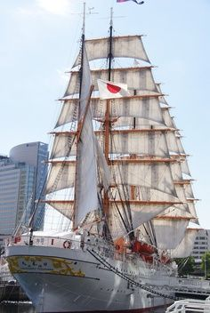 Nippon-Maru, one of few large sailing ships of Japan.