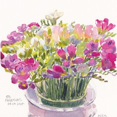 """$100USD. 50 Freesias An irresistable and giant bouquet of spring freesia cried out to be painted. Image size including title text: 7″ x 7″ Paper size: 8 3/4″ x 8 3/4″ Dated & Titled: 50 Freesias, 04/04/2020. Initialed """"MYM"""" Painting is unframed. Shipping is by Canada Post Lettermail. SHIPPING IS INCLUDED IN THE LISTED PRICE if destination is North America. Modest surcharge if shipped outside Canada and the USA. Flowers, bouquet, pink, purple. Watercolour Paintings, Watercolours, Canada Post, Flocking, Paper Size, Pink Purple, North America, 50th, Initials"""