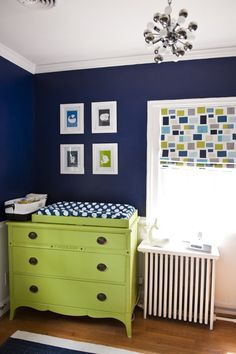 love the color combo navy + lime boy's nursery