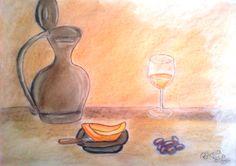 """Mesa Alentejana"" Pintura a Pastel Seco e Lápis de Cor A3"