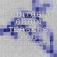 Printable brain teasers for kindergartners