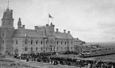 Stand to attention: A military review in front of the west block of Parliament Hill, Ottaw...