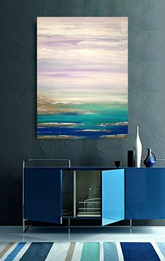 "Art and Collectibles,Painting, Abstract, Acrylic,Seascape Abstract Painting Original Art by Ora Birenbaum 30x40x1.5"" Lavender Skies 2"