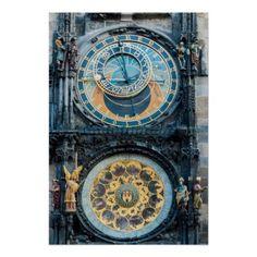 Closeup on Prague Astronomical Clock Poster - individual customized designs custom gift ideas diy