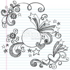 Hand-Drawn Stars, Hearts, Circle Frame, and Swirls Sketchy Notebook Doodles Vector Illustration on Lined Sketchbook Paper Background - stock vector Doodles Zentangles, Zentangle Patterns, Zen Doodle, Doodle Art, Notebook Doodles, Doodle Frames, Doodle Designs, Doodle Drawings, Zentangle Drawings