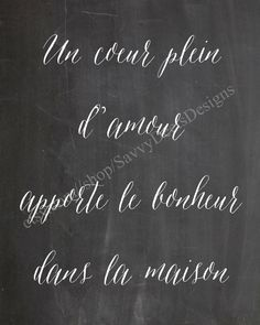 Un Coeur Plein D'Amour - Chalkboard Style Printable - Digital File - Wall Art