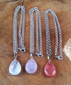 Zilveren ketting natuursteen hanger in drie verschillende kleuren te koop!