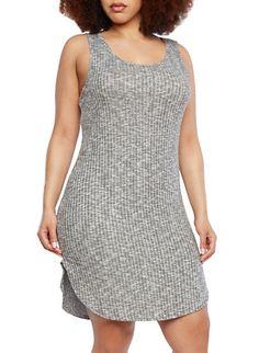 Plus Size Bodycon Tank Dress with Marled Knit Ribbing