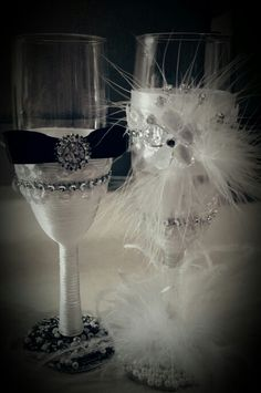 Black and white wedding flutes made by me for sale