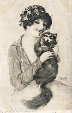 Raphael Kirchner, Girl with cat, 1916.