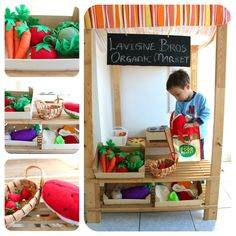 DIY Pretend Play Supermarket with food and veggies