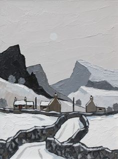 View across Llyn Padarn by British Contemporary Artist David BARNES