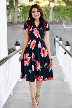 df937c4c0f2 Feminine June Floral Midi Dress In Navy. Nursing Friendly. 31.99 ! This  dress