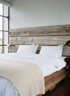Rustic wood head board/wall